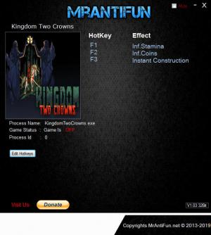 Kingdom Two Crowns Trainer for PC game version v1.01