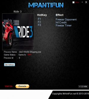 Ride 3 Trainer for PC game version v14.01.2018