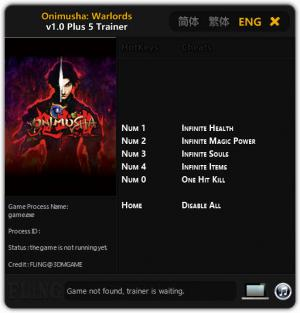 Onimusha: Warlords Trainer for PC game version v1.0
