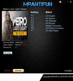Metro: Last Light Redux Trainer +7 v1.0.0.4 {MrAntiFun}