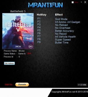 Battlefield 5 Trainer for PC game version v23624