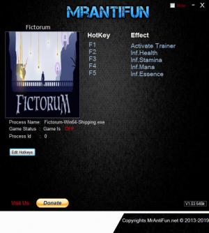 Fictorum Trainer for PC game version v1.2.9a