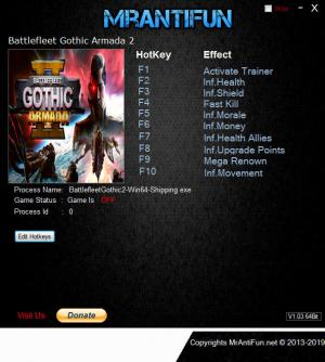 Battlefleet Gothic: Armada 2 Trainer for PC game version v8822