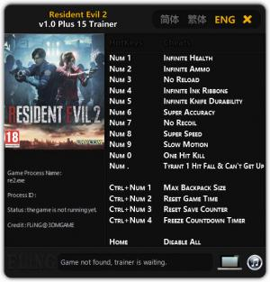 Resident Evil 2 Remake Trainer for PC game version v1.0