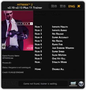 Hitman 2 Trainer +11 v2.13 {FLiNG}