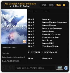 Ace Combat 7: Skies Unknown Trainer +11 v1.0 {FLiNG}