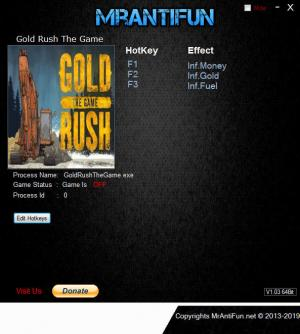 Gold Rush: The Game Trainer for PC game version v1.5.2.11492
