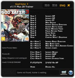 God Eater 3 Trainer +20 v1.11 {FLiNG}