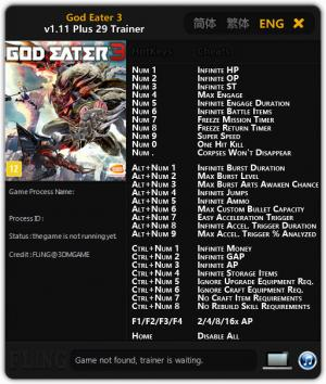 God Eater 3 Trainer +29 v1.11 {FLiNG}
