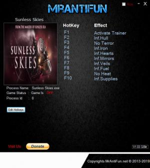 Sunless Skies Trainer for PC game version v1.1.9.5.08