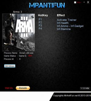 Arma 3 Trainer for PC game version v1.88