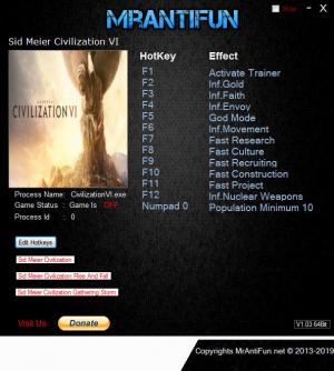 Sid Meier's Civilization 6 Trainer for PC game version v1.0.0.290