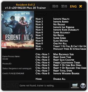 Resident Evil 2 Remake Trainer +20 v1.0 Update 20.02.2019 {FLiNG}