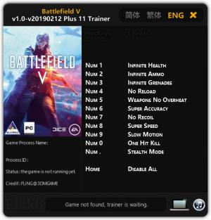Battlefield 5 Trainer for PC game version v12.02.2019