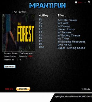 The Forest Trainer +10 Build 3496148 {MrAntiFun}