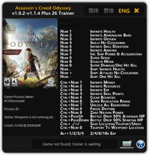 Assassin's Creed: Odyssey Trainer for PC game version v1.1.4