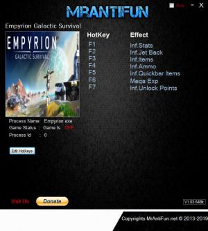 Empyrion: Galactic Survival Trainer for PC game version v9.4.1.2288