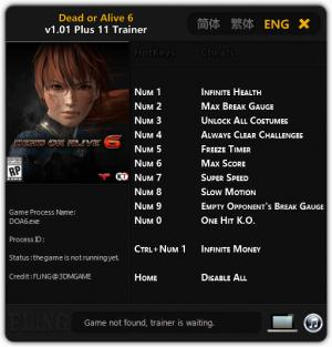 Dead or Alive 6 Trainer for PC game version v1.01