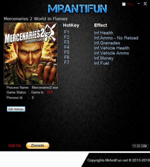 Mercenaries 2: World in Flames Trainer for PC game version v12.03.2019