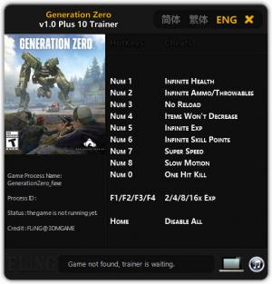 Generation Zero Trainer +10 v1.0 {FLiNG}