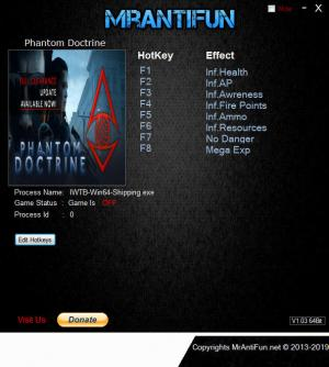 Phantom Doctrine Trainer for PC game version v1.1