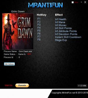 Grim Dawn Trainer for PC game version v1.1.1.1