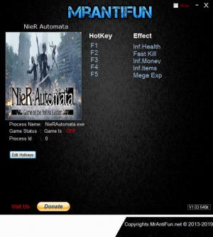 NieR: Automata Trainer for PC game version v1.02