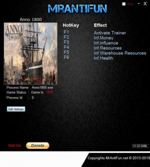 Anno 1800 Trainer for PC game version v1.00