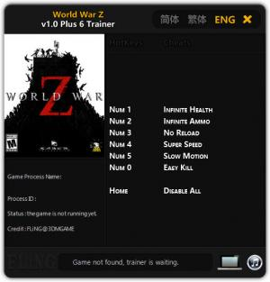 World War Z Trainer for PC game version v1.0