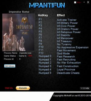 Imperator: Rome Trainer for PC game version v1.0.1
