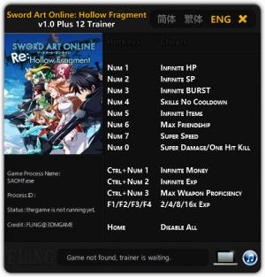Sword Art Online: Hollow Fragment Trainer +12 v1.02 {FLiNG}