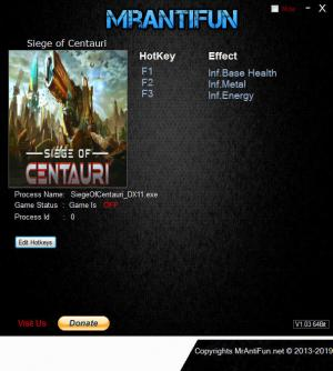 Siege of Centauri Trainer for PC game version v0.1.61029