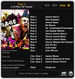 RAGE 2 Trainer for PC game version v1.0