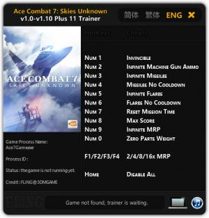 Ace Combat 7: Skies Unknown Trainer +11 v1.10 {FLiNG}