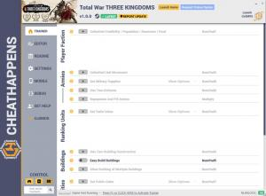 Total War: THREE KINGDOMS Trainer +19 v1.0.0 (Cheat Happens)