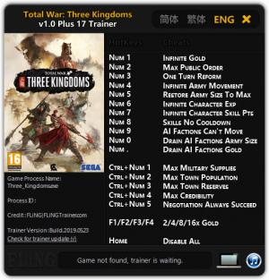 Total War: THREE KINGDOMS Trainer +17 v1.0 {FLiNG}