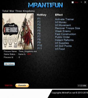 Total War: THREE KINGDOMS Trainer +10 v1.00 {MrAntiFun}