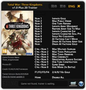 Total War: THREE KINGDOMS Trainer +20 v1.0 {FLiNG}