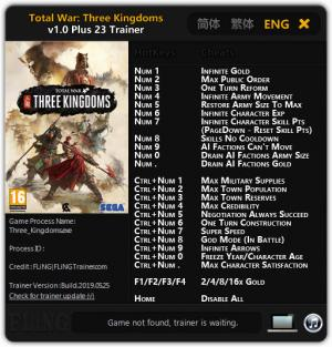 Total War: THREE KINGDOMS Trainer +23 v1.0 {FLiNG}