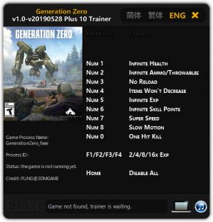 Generation Zero Trainer for PC game version v28.05.2019