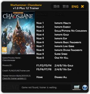 Warhammer: Chaosbane Trainer for PC game version  v1.0