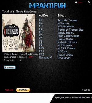 Total War: THREE KINGDOMS Trainer +12 v1.00 Build 9292 {MrAntiFun}