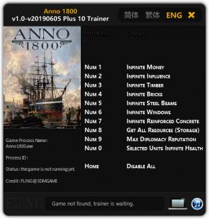 Anno 1800 Trainer for PC game version v05.06.2019