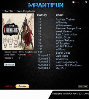 Total War: THREE KINGDOMS Trainer +16 v1.00 Build 9292 {MrAntiFun}