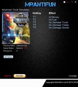 American Truck Simulator Trainer for PC game version v1.35.1.1