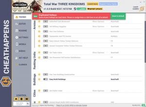 Total War: THREE KINGDOMS Trainer for PC game version v1.0.0 Build 9537.1673768