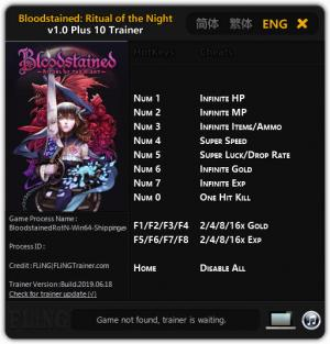 Bloodstained: Ritual of the Night Trainer +10 v1.0 {FLiNG}