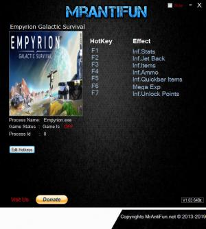 Empyrion: Galactic Survival Trainer for PC game version v10.0.1.2507