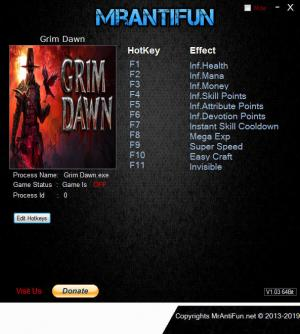 Grim Dawn Trainer for PC game version v1.1.3.0