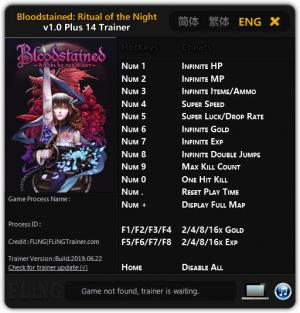 Bloodstained: Ritual of the Night Trainer for PC game version v1.0